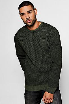 two colour chunky crew jumper