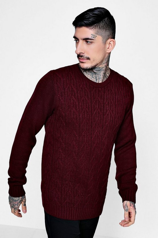 Chunky Cable Knit Crew Jumper