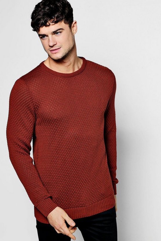 Honeycomb Textured Chunky Crew Neck Jumper