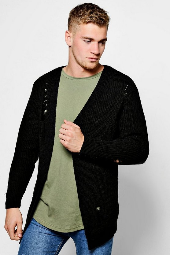 Chunky Longline Cardigan With Distressing