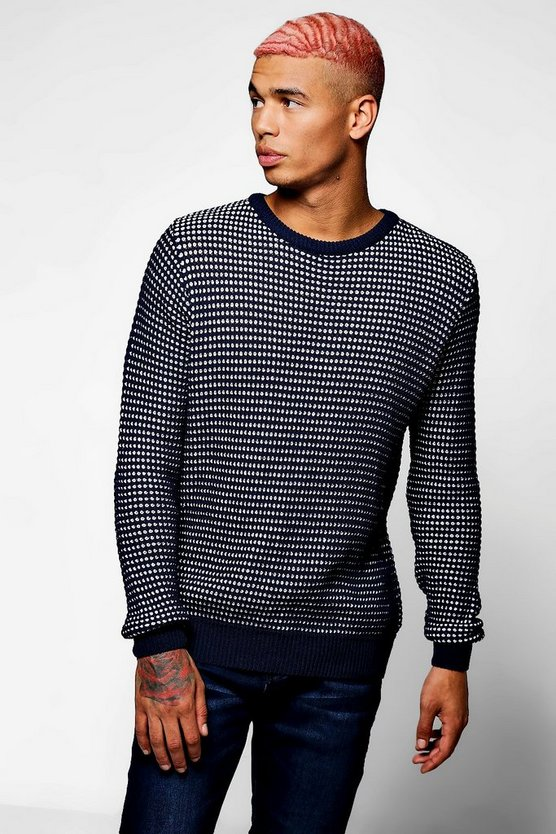 Chunky Textured Crew Neck Jumper
