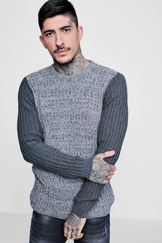 Muscle Ribbed Jumper With Contrast Sleeve