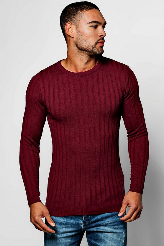 Muscle Fit Ribbed Crew Jumper