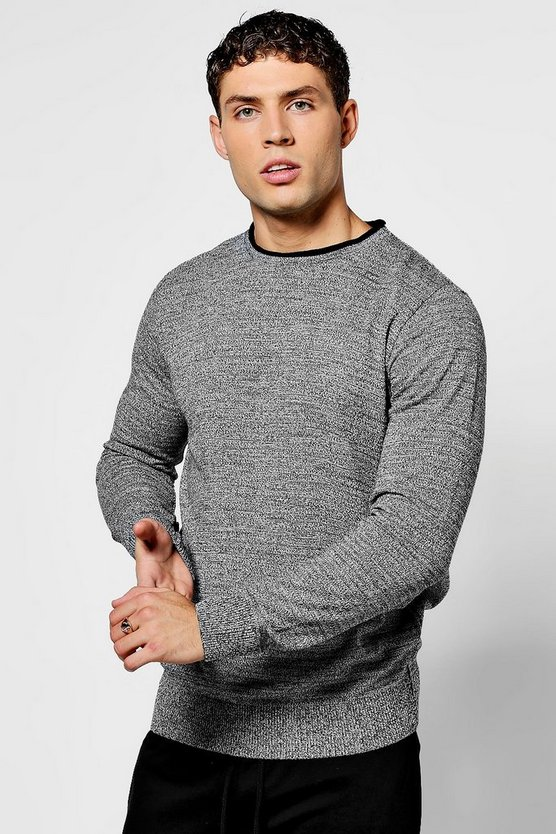 Twisted Crew Neck Knit With Contrast Rib
