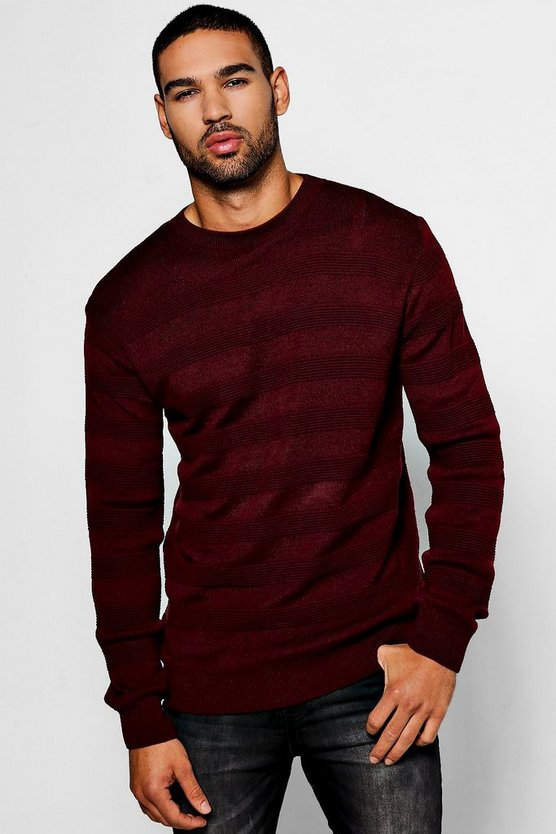 Ribbed Panel Crew Neck Jumper