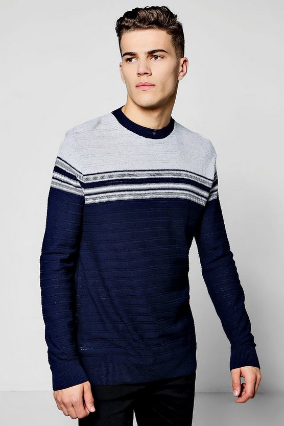 Ribbed Stripe Crew Neck Jumper