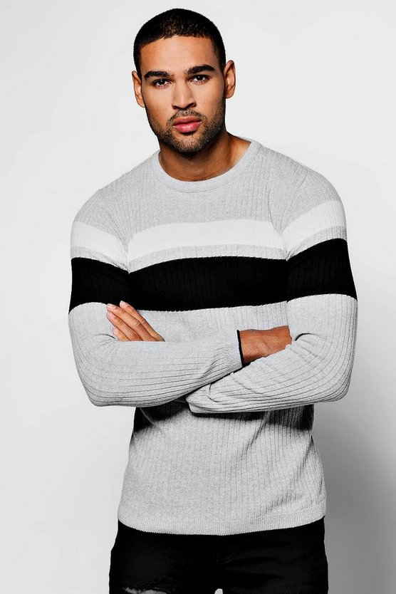 Muscle Fit Stripe Yoke Crew Neck Jumper