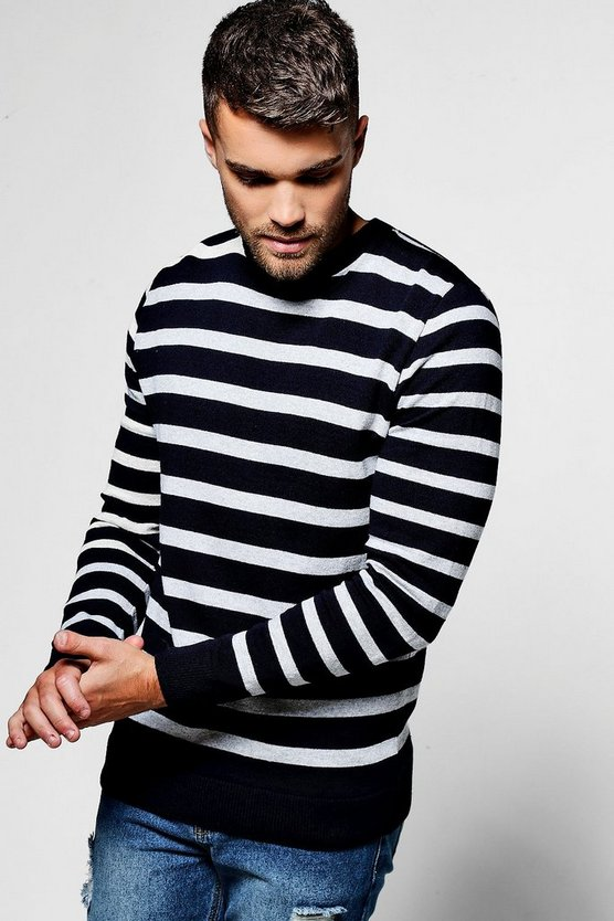 Navy Stripe Crew Neck Jumper