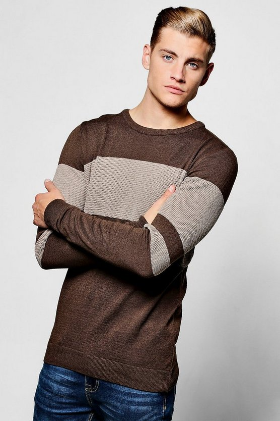 Textured Block Stripe Crew Neck Jumper