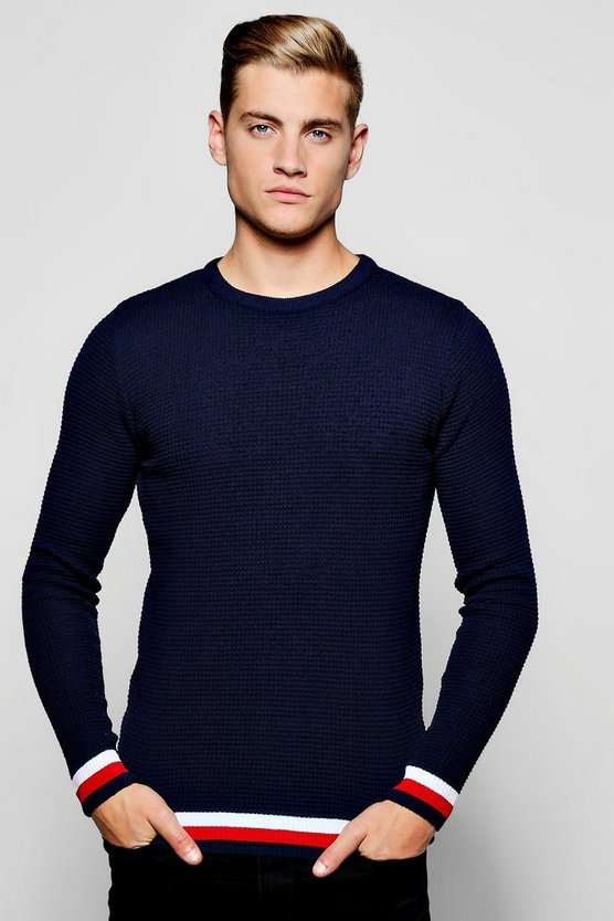 Tuck Stitch Crew Neck Jumper With Stripe Trim