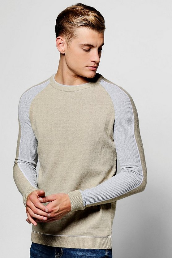 Muscle Fit Ribbed Raglan Jumper