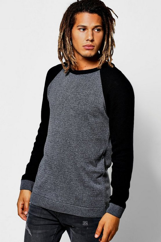 Contrast Raglan Long Sleeve Jumper