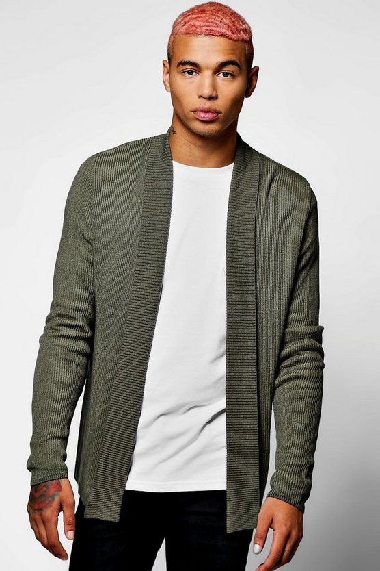 Ribbed Contrast Edge To Edge Cardigan