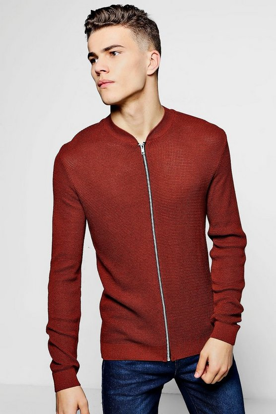 Textured Knitted Crew Neck Bomber