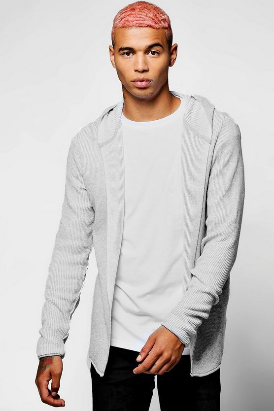 Ribbed Contrast Hooded Cardigan