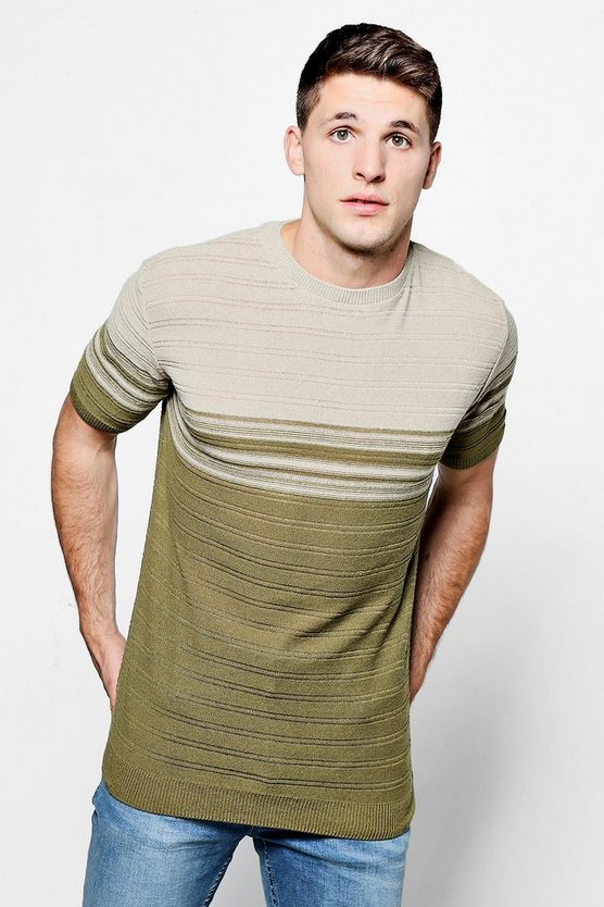 Short Sleeve Ribbed Stripe Knitted T-Shirt