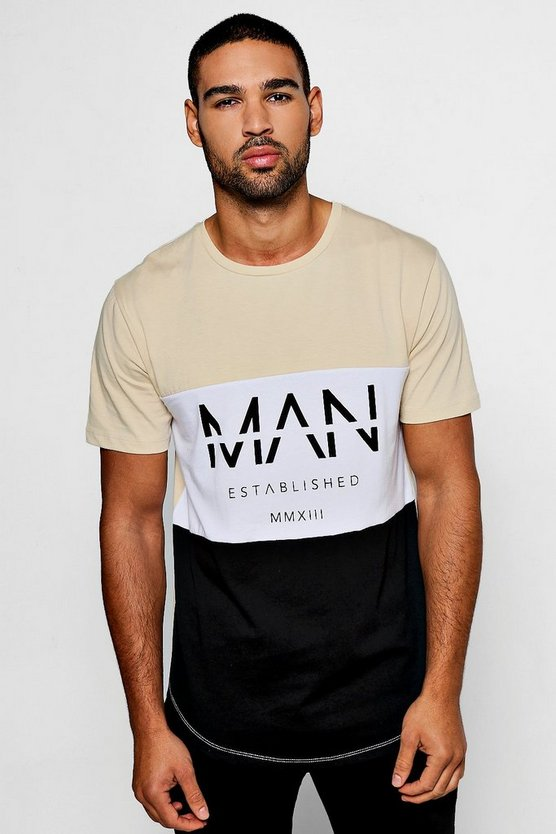 Colour Block MAN T-Shirt With Curved Hem