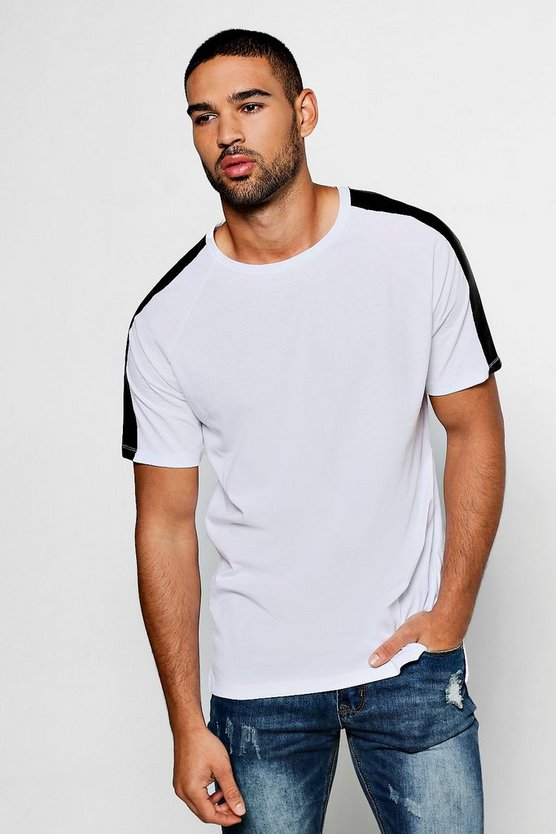 Step Hem T-Shirt With PU Panel