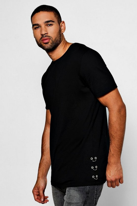 Longline T-Shirt With Ring Detail