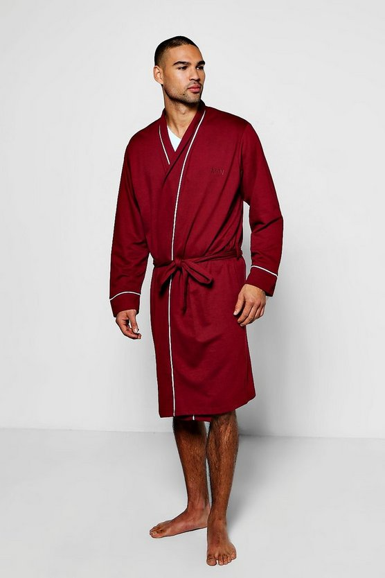 Jersey Robe With MAN Print