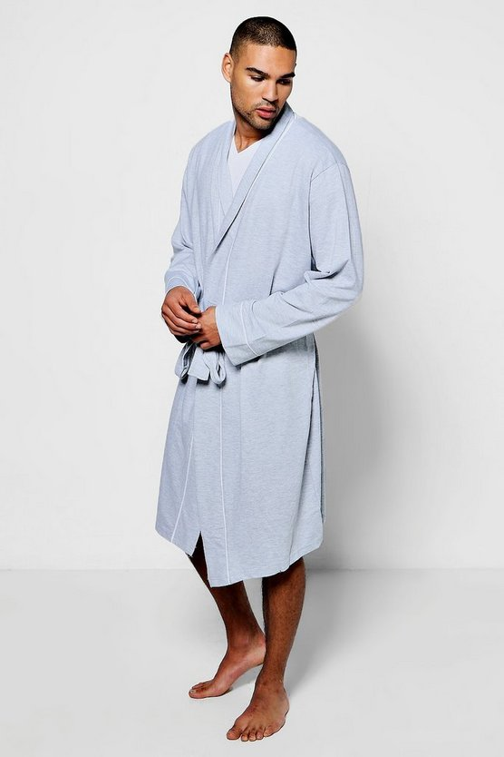 Jersey Robe With Piping Detail
