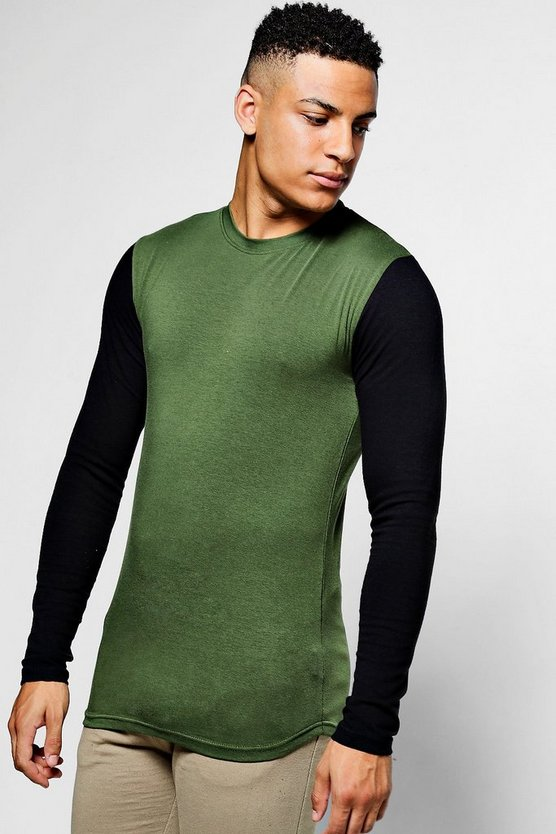 Longsleeve Muscle T-Shirt With Contrast Sleeves