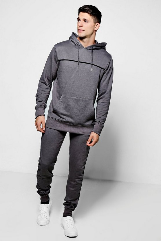 Over The Head Hooded Tracksuit With Piping
