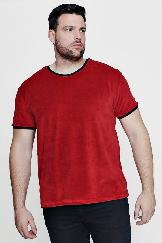 Big And Tall Velour T-Shirt With Contrast Rib