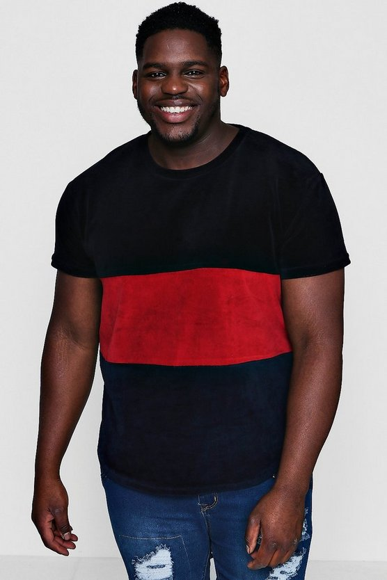 Big And Tall 3 Colour Block Velour T-Shirt