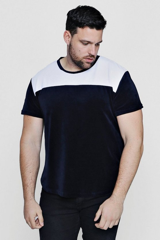 Big And Tall Longline Colour Block T-Shirt