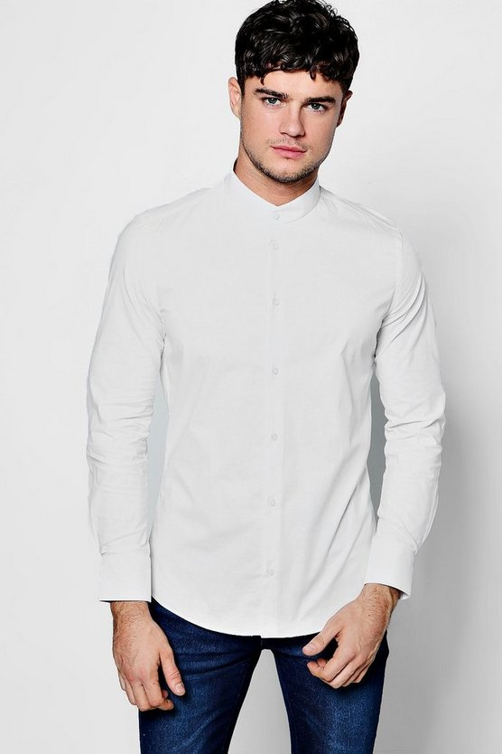 Slim Fit Stretch Mandarin Collar Shirt