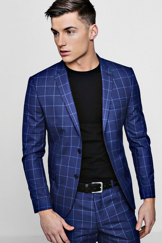 Skinny Fit Windowpane Check Blazer