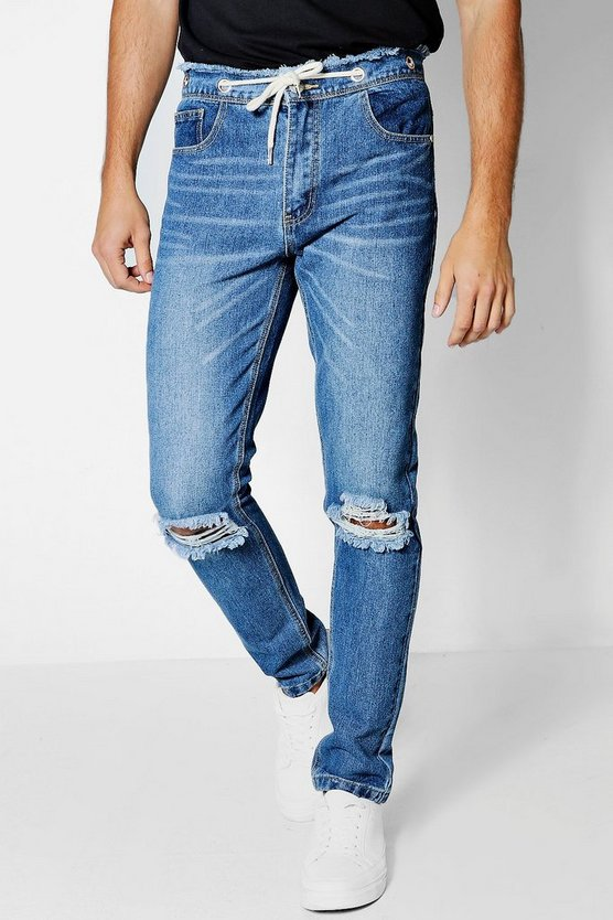 Mid Blue Skinny Fit Jeans with Raw Waistband