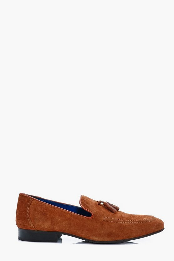Tan Real Suede Tassel Loafers