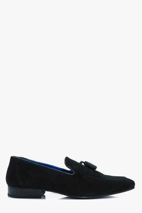 Black Real Suede Tassel Loafers
