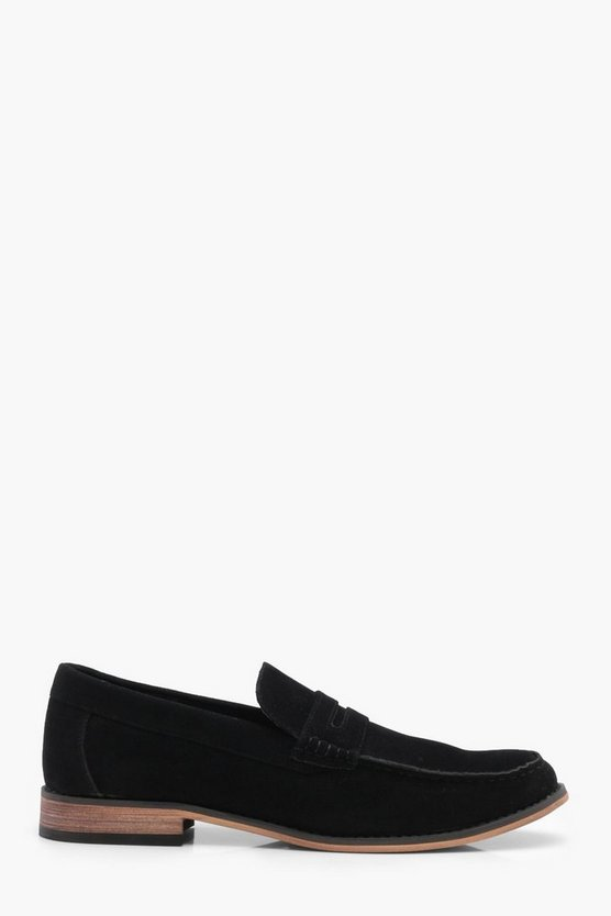 Black Smart Faux Suede Loafers