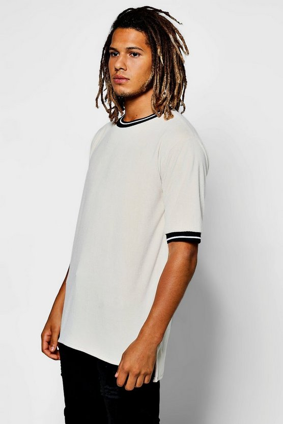 Sports Rib Curved Hem T-Shirt In Towelling