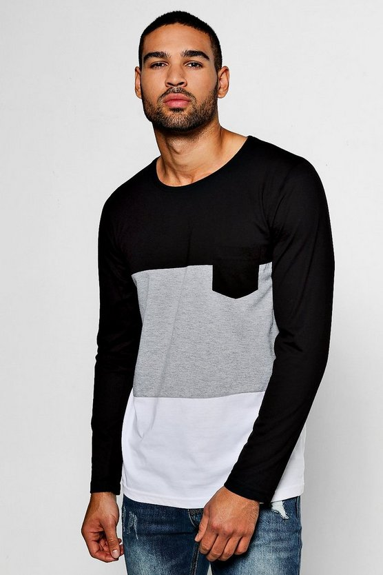 Long Sleeve Colour Block T-Shirt