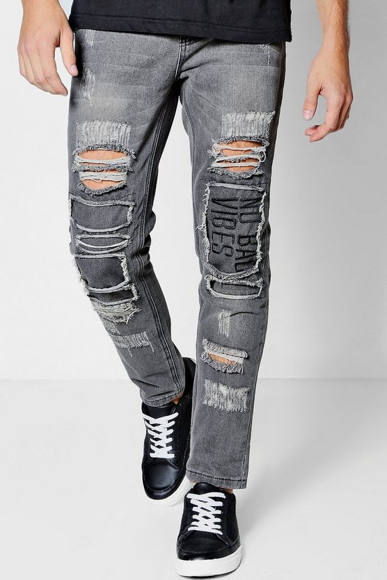 Skinny Fit Jeans With Embroidered Rip And Repair