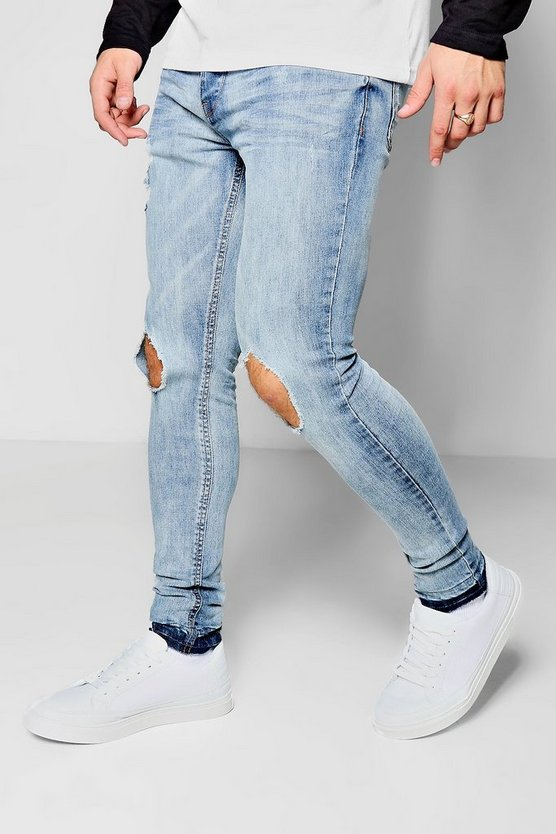 Light Blue Super Skinny Ripped Knee Jeans