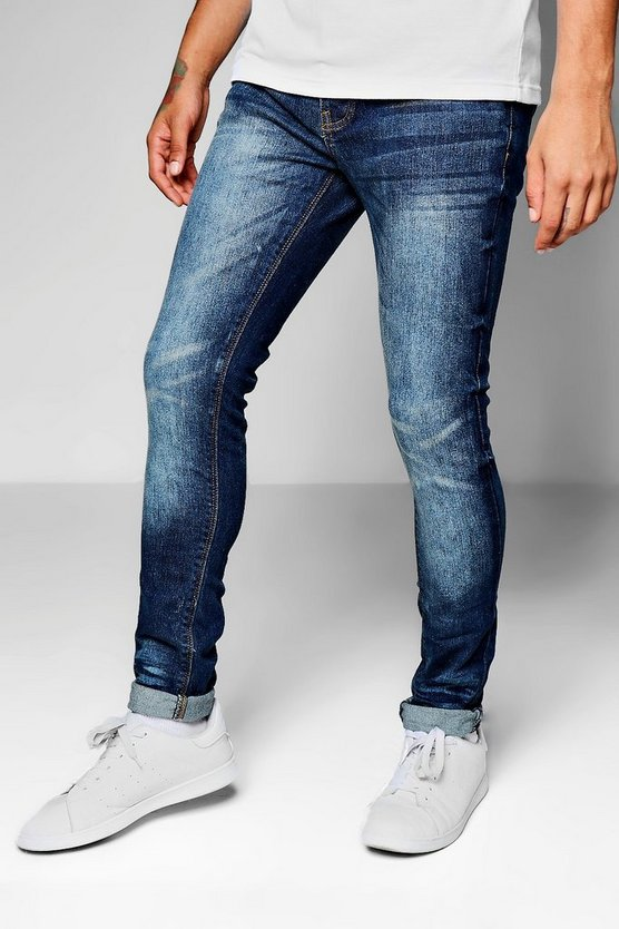 Mid Blue Skinny Fit Denim Jeans With Whiskering