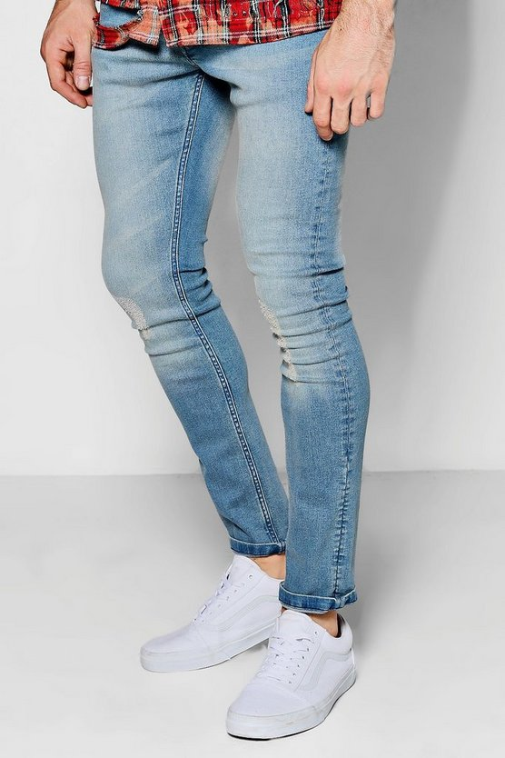 Blue Wash Lightly Distressed Skinny Fit Jeans