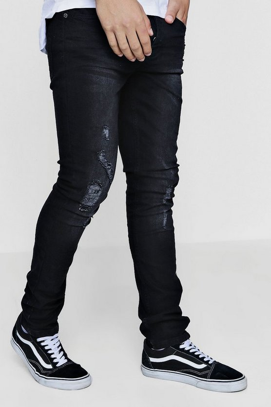 Charcoal Stretch Slim Fit Distressed Denim Jeans