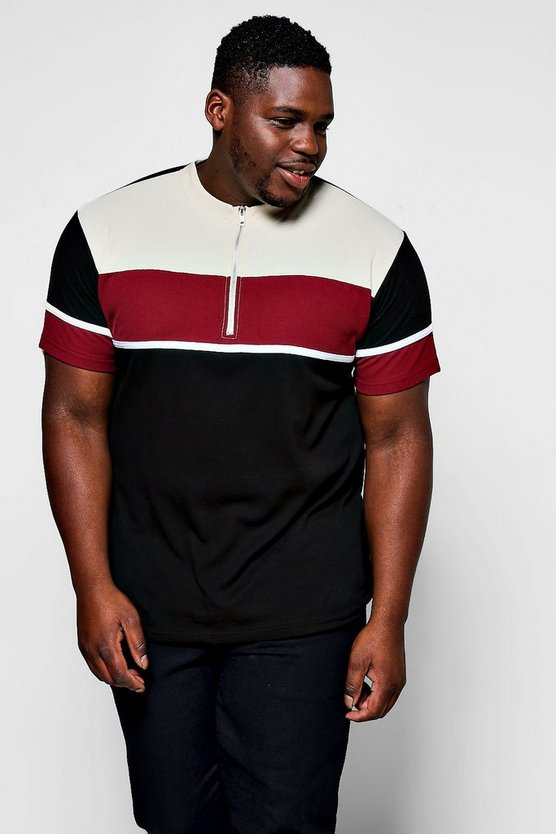 Big And Tall Colour Block Zip Placket Polo