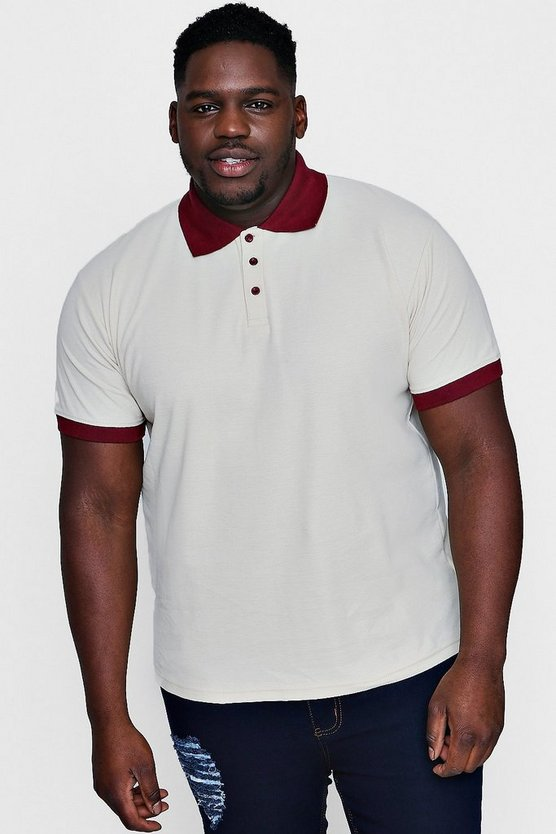 Big And Tall Short Sleeve Cream Pique Polo