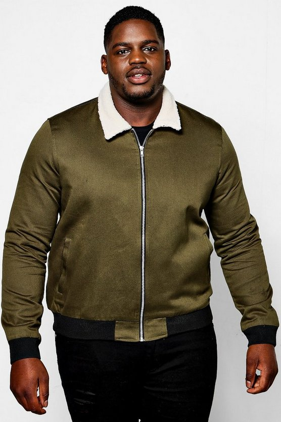 Big And Tall Cotton Bomber With Borg Collar