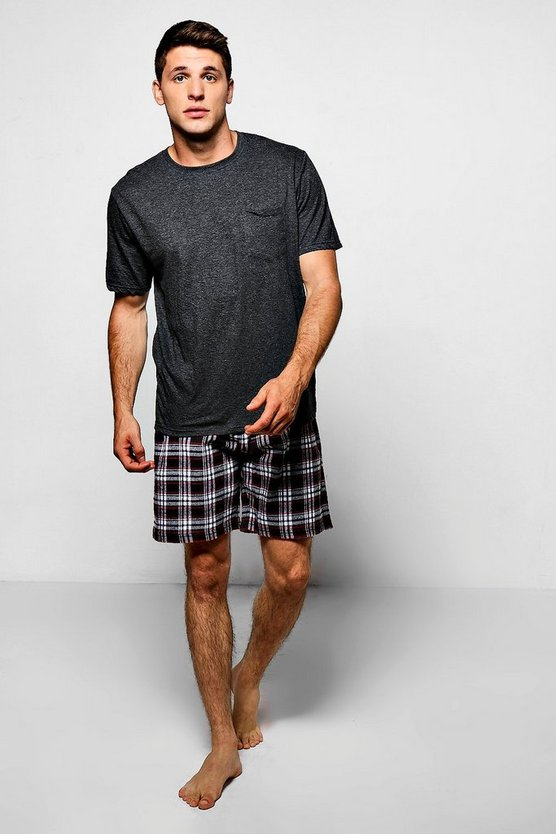 Pyjama Set with Checked Shorts