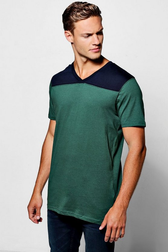 V-Neck Colour Block T-Shirt