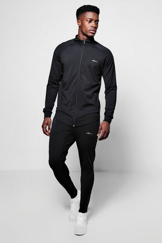 Poly Track Top Muscle Fit Tracksuit