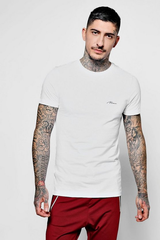 Man Script Embroidered Muscle Fit T-Shirt